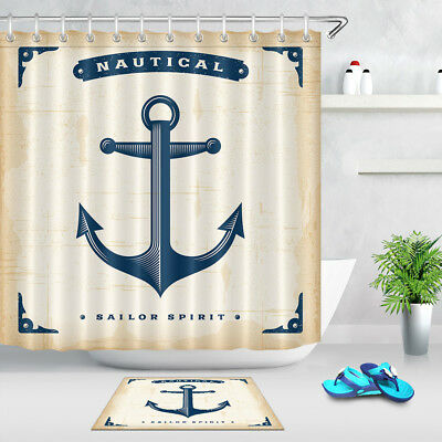 Steel Anchor Wooden Background Shower Curtain Set Bathroom Mat Waterproof Fabric