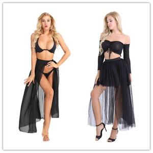 f92805b3f5c2 Women Chiffon High Waist TuTu Tulle Midi Skirt Long Maxi Beach Dress ...