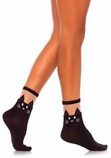 Cute Black Cat Style Opaque Anklet Socks with Sheer Top, Black.