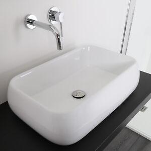 Lavabo 60 x 42 da appoggio ceramica lavandino design sanitari arredo bagno nuovo ebay - Lavandino appoggio bagno ...