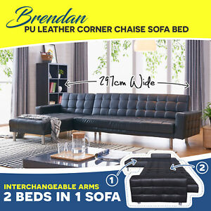 best cheap 5799c fbedb Details about Corner Sofa Bed Lounge Couch Modular Futon Set Furniture PU  Leather Chaise Suite