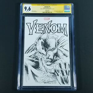 Venom-1-Blank-Cover-Original-One-Of-A-Kind-Sketch-Signed-Robertson-CGC-SS-9-6