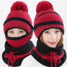 57073b546c1 3Pcs Women Scarf and Hat Set Winter Warm Knitted Beanie Scarves Ladies  Skull Cap
