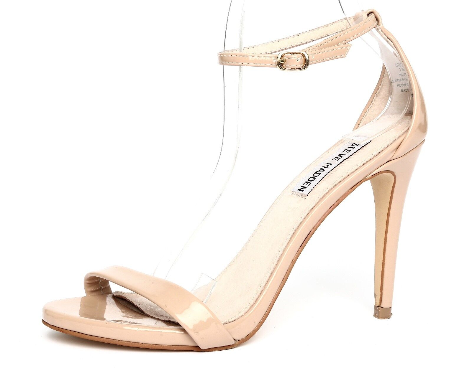Steve Madden Stecy Patent Leather Nude Ankle Strap Sandal Heels Sz 7.5M 3309
