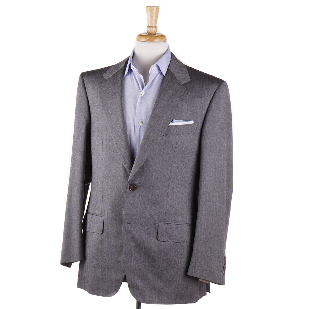 New 2995 D'AVENZA grau Herringbone Wool-Silk Sport Coat 40 R (Eu 50)