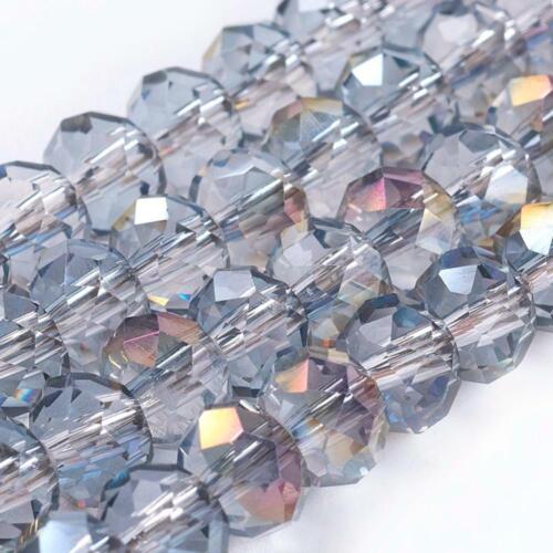 FACETTIERT GLASPERLEN BESCHICHTET AB 15 FARBEN 6x4 mm 1 STRANG ca 95-100 STCK