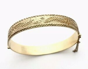 Vintage-Ornate-9ct-Rolled-Gold-Half-Floral-Bracelet-Bangle-With-Safety-Chain
