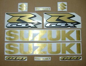 GSX-R 600 brushed gold custom decals stickers graphics set kit srad golden inox