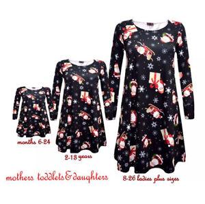 BABIES Rudolph Girls CHRISTMAS MOTHER & DAUGHTER SANTA SLEIGH XMAS SWING DRESS