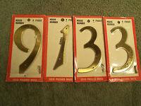4 Vintage Sears Roebuck & Co. Solid Brass Numbers Nip