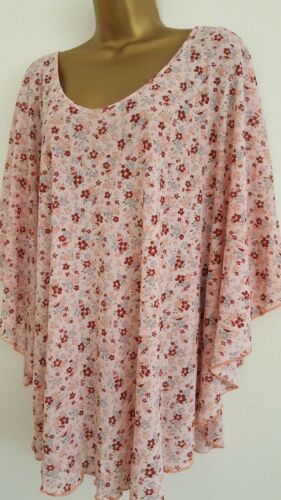 NEW Plus Size 16-32 Batwing Sleeve Ditsy Floral Print Pink Red Top Blouse Tunic