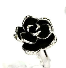 Vintage Art Deco style black rose lotus flower prom cocktail ring