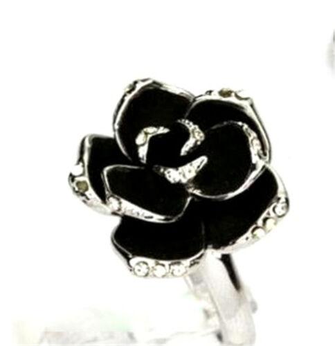 style Vintage Art Deco rose noire fleur de lotus bal promo bague coktail