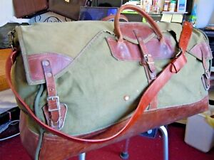 Vintage-GOKEYS-ORVIS-Canvas-amp-Leather-Hunting-Travel-Duffle-Bag-Battenkill-5