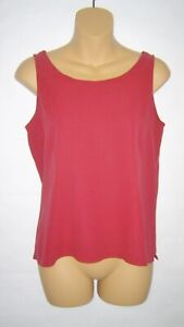 Eileen Fisher Silk Georgette Scoop Neck Shell Top Red Loganberry PS NWT $118