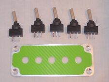 BILLET : 3D GREEN WRAP CARBON FIBER PANEL w/ LED toggle switches - GREEN