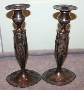 VINTAGE-MARCUS-amp-CO-STERLING-SILVER-CANDLE-STICKS