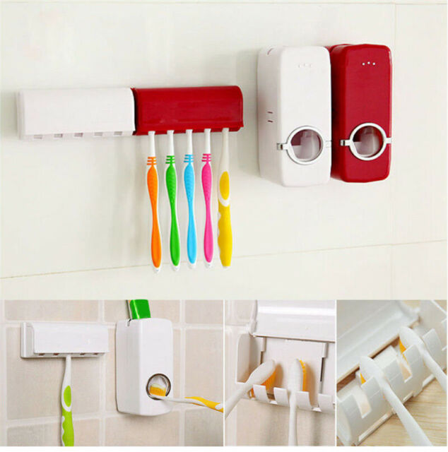 Automatic Toothpaste Dispenser Tooth Brush Holder Set Wall Mounted Stand Home
