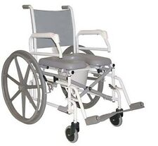 ANTI-RUST FOLDING SWING-ARM PADDED SEAT TUFFCARE REHAB SHOWER COMMODE WHEELCHAIR