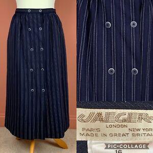 Vtg Jaeger Navy/White Stripe Midi Skirt UK12 Wool Blend Pockets Button Detail