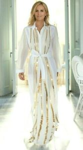 New-Tory-Burch-Gold-Coin-Embroidered-Embellished-Runway-Long-Maxi-Gown-Dress-12