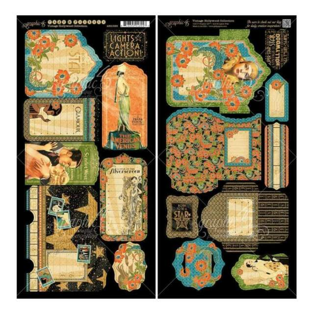 Graphic 45 - Vintage Hollywood Cardstock Die-Cuts 6 inch X12 inch Sheets 2 pack