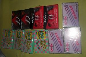 NEW-MIXED-LOT-OF-11-TDK-D-60-SONY-HF-90-OTHER-60-min-Blank-Audio-Cassette-Tapes