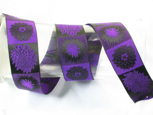 "/'Flower Blocks/' Jacquard Ribbon Trim x 1 yd 42mm 1.9//16/"""