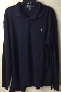 Polo-Ralph-Lauren-Men-039-s-Long-Sleeve-Polo-Shirt-Solid-Blue-Size-Large