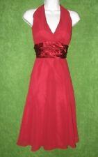 Scarlett Deep Red Wine Satin Chiffon Padded Halter Social Dress  6 $89