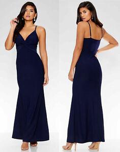 Womens-Quiz-Navy-Blue-Knot-Front-Maxi-Dress-Ladies-Evening-Bridesmaid-UK-Sizes
