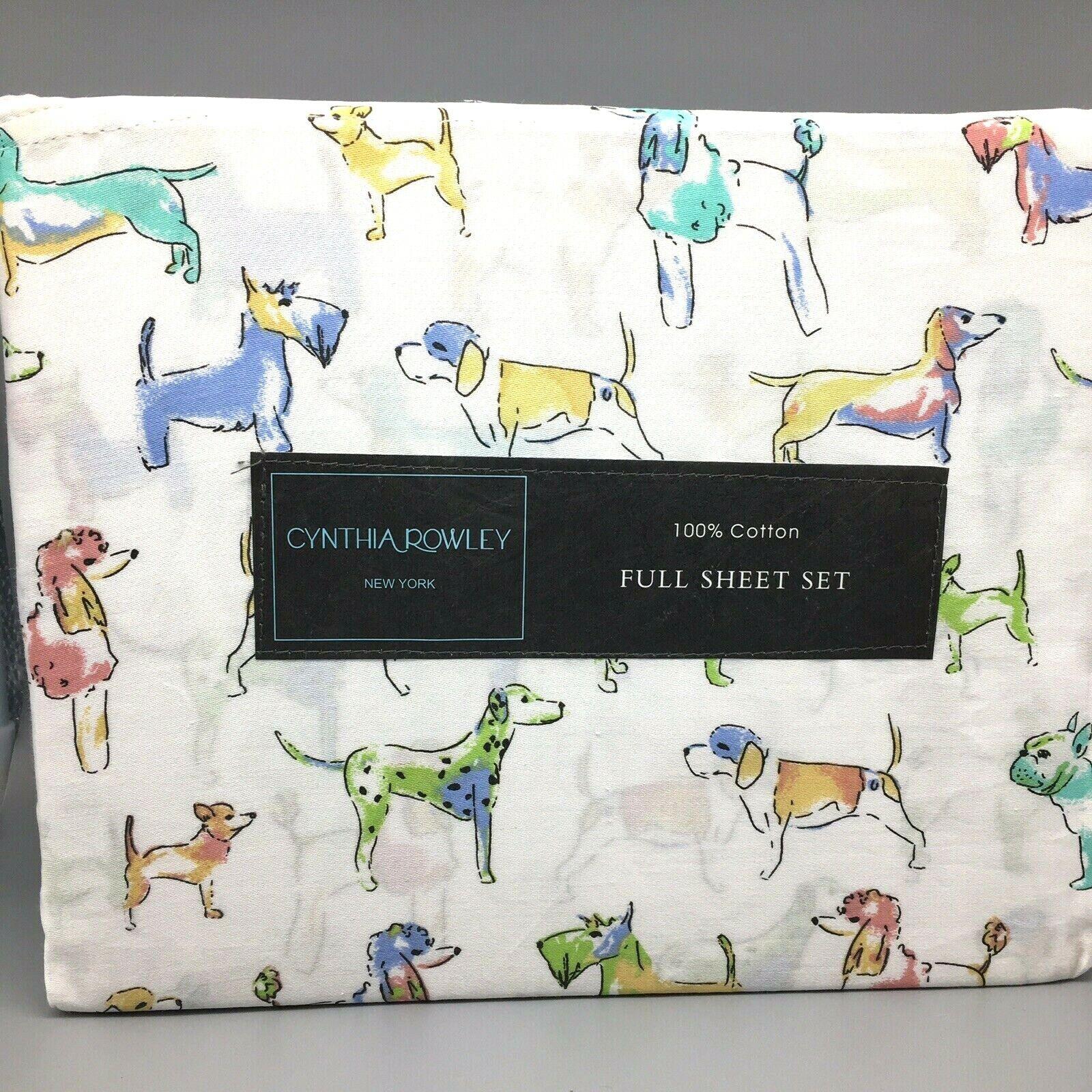 4pc Cynthia Rowley WaterFarbe Dog FULL Sheet Set Farbeful Dachshund 100% Cotton
