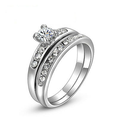 18K white gold plated double rings CZ engagement wedding ring US size 7+gift bag