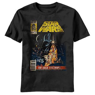 Star Wars T-Shirt Luke, Leia, Vader, 100% Cotton Short Sleeve Graphic Tee Black