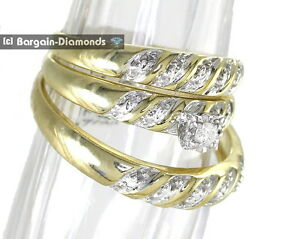 Image Is Loading Diamond 07 Carat 3 Band Wedding Ring Set