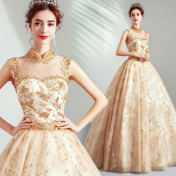 Luxury gold Diamante Mandarin Collar Tulle Ball Gown Stage Prom Evening Dress
