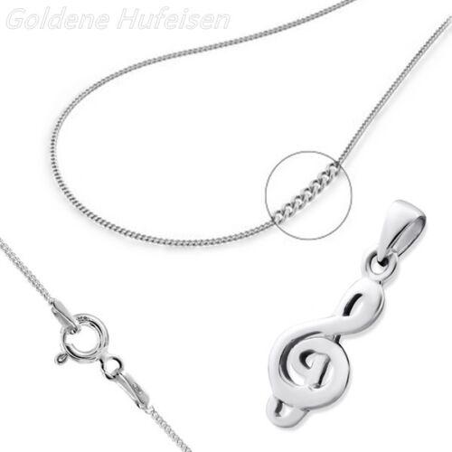 360 Musiknote ANHÄNGER mit KETTE  925 Echt Silber Mädchen Damen Geschenkidee