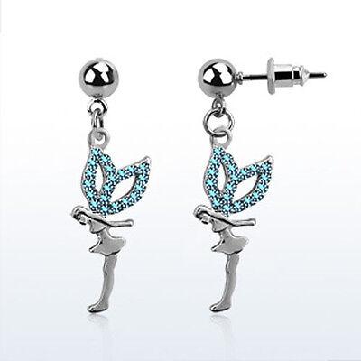 Ball Shaped Steel Helix Ear Stud w/ Dangling Crystal Fairy 10 Colors Single USA