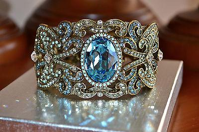 "NIB $230 Heidi Daus ""To the Moon, Heidi!"" Blue Topaz Crystal Cuff Bracelet S/M"