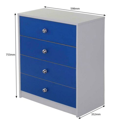 Kids 3 Pc Bedroom Furniture Set Wardrobe Draws Childrens Playroom Storage 7381