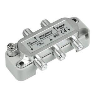 Hama-BK-Verteiler-Sat-Kabel-Antenne-TV-Splitter-4-fach-4-1000-MHz-1-4-F-Kupplung