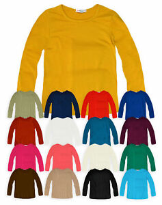 Kids-Plain-Top-Girls-Long-Sleeve-Tee-T-Shirt-Stretch-Fit-Teen-New-Age-2-14-Years