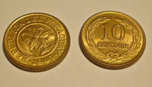 each 1947 PARAGUAY 10 centimos Orchid Flower UNC