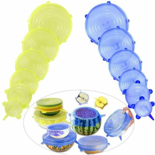 Silicone Food Lid,12 Pcs Stretch Reusable Lids Expandable Silicone Storage K6J2
