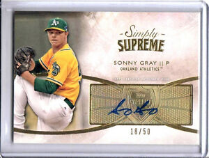 RARE 18/50 Topps Supreme Sonny Gray 2014 Baseball Auto Autograph Signed Card
