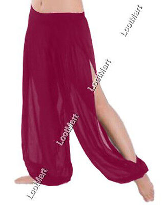 Belly Dance D Pink 1 Slit Harem Yoga Pants Tribal Trousers Pantalons Genie 25Col