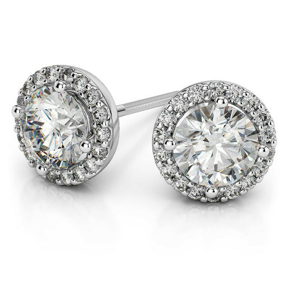2.70 Carat Diamond Womens Engagement Earrings 14K Real White gold Wedding Studs