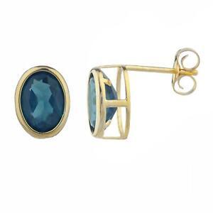 Details About 14kt Gold London Blue Topaz Oval Bezel Stud Earrings