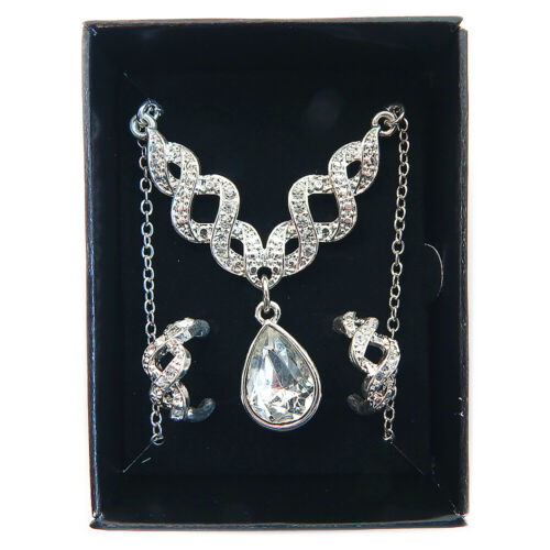 Avon Pave 3 Piece Gift Set Silvertone Necklace /& Earrings