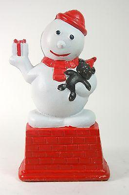 Cast Iron Bank Doorstop Snowman Christmas Holiday